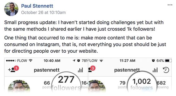 Paul's Testimonial: I have just crossed 1k followers!