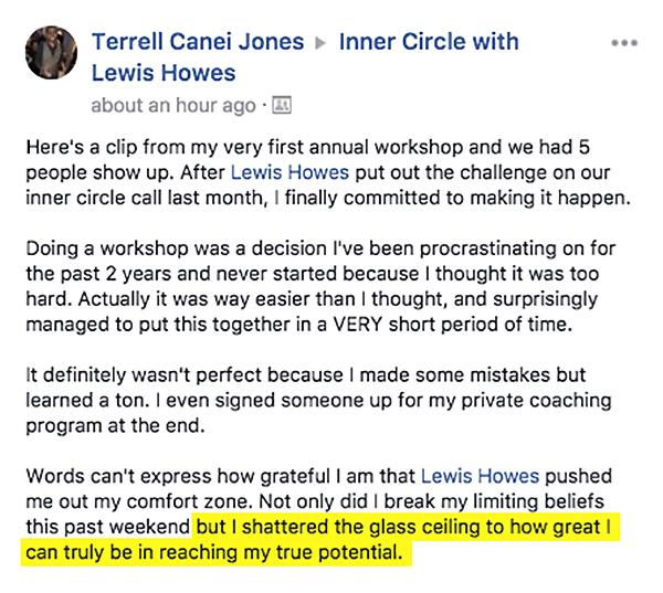 Terrell's testimonial: Words can't express how grateful I am that Lewis Howes pushed me out my comfort zone.